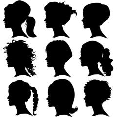 vector set of woman silhouette with hair styling