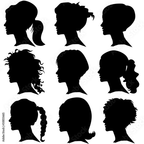 vector set of woman silhouette with hair styling - 50855665