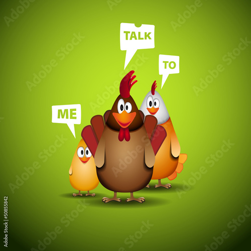 Happy Easter - Funny chicken family with speech bubbles