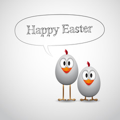 Happy Easter with two funny chick - Vector Illustrator