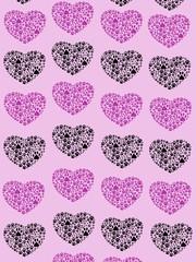 Dog Paws Trails Pawprints Heart Purple, Black