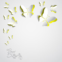 Greeting card with colorful paper butterflies - vector