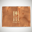 background with grunge cardboard texture and menu sign