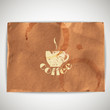 background with grunge cardboard texture and coffee sign