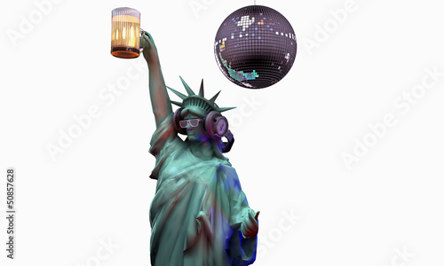 liberty statue drinking a beer