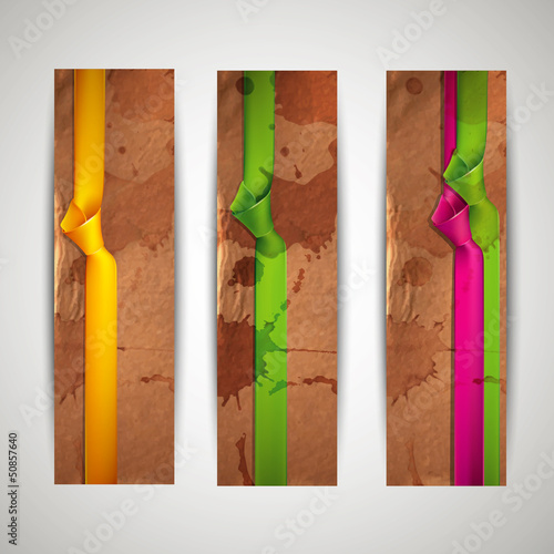 banners with grunge cardboard texture and multicolored ribbons