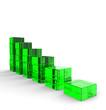 3D Glas Bausteine - Abwärtstrend Grün