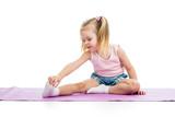 Fototapety Kid doing fitness exercises