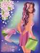 Spring sale shop girl, vector illustration