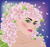 Spring beautiful girl, vector illustration - 50858282