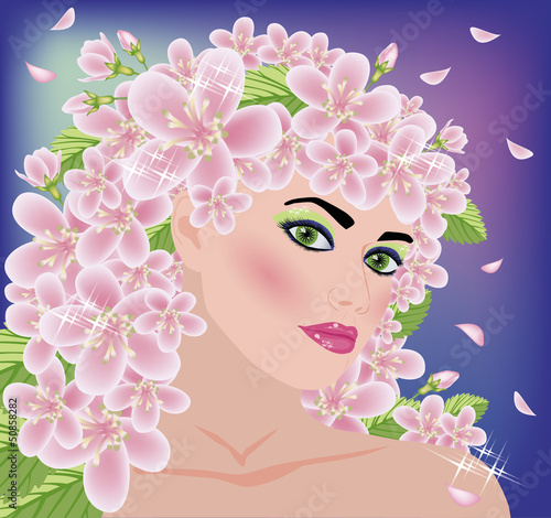 Spring beautiful girl, vector illustration