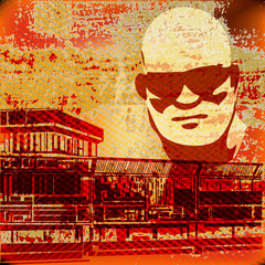 Urban Grunge image, vector illustration with serious sunglasses