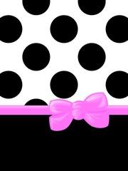 Polka dots, Ribbon and Bow, Pink, Black, White
