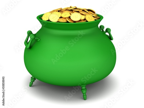 Green cauldron of golden coins on a white background.