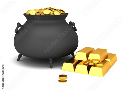 Cauldron of golden coins on a white background.