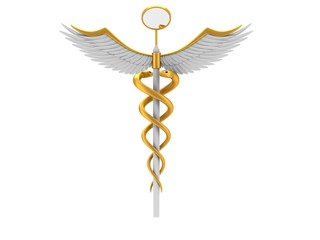 Gold dentistry symbol on white background.