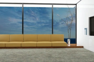 3d Rendering of modern living room interior with seascape view