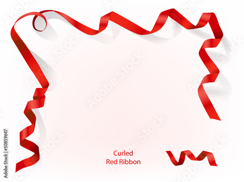 Curled red ribbon