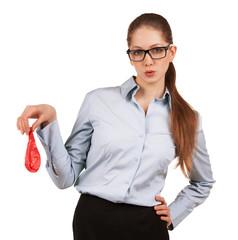 Stylish woman holding a balloon blown away