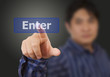 man hand touching on enter button