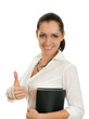 Business woman shows thumbs up