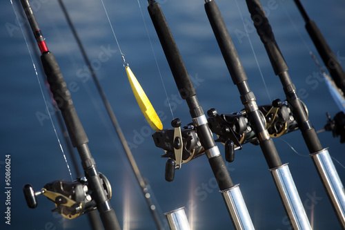 Fishing rods and lure at trolling boat. Scandinavia.