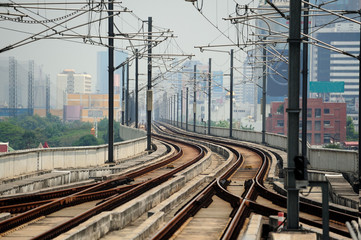 Airport Link train in Bangkok, Thailand. The train travels on an