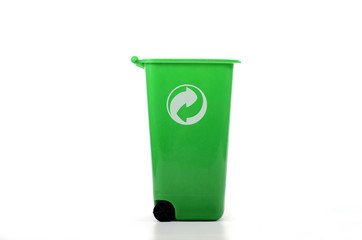 Empty green plastic recycle bin isolated