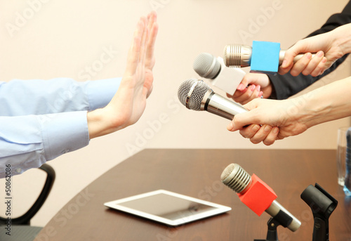 Conceptual photo of businessman or politician giving no
