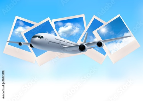 Travel background with airplane in front of photos of blue sky.