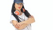 Beautiful girl dancing with cap and headphones