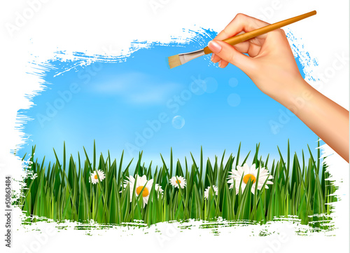Nature background with hand holding a brush. Vector illustration