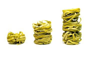 Italian pasta fettuccine Tagliatelle Nahaufnahme Isoliert weiß