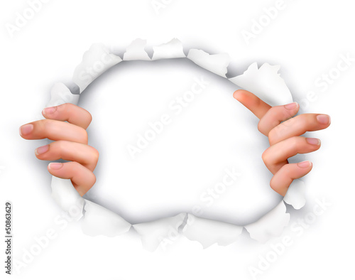 Background with hands showing trough a hole of in white paper. V