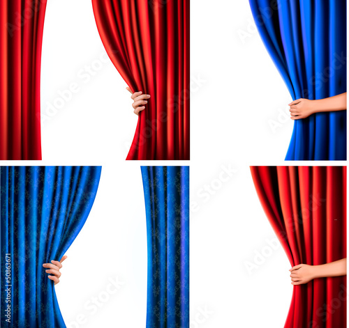 Set of backgrounds with red and blue velvet curtain and hand. Ve