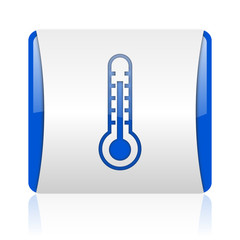 thermometer blue square web glossy icon