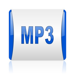 mp3 blue square web glossy icon