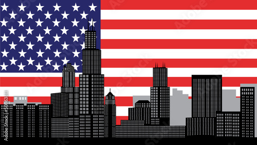 chicago skyline with flag