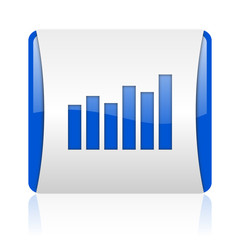 bar graph blue square web glossy icon