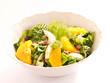 Fenchel Orangensalat mit Salatherzen und Speckwürfeln