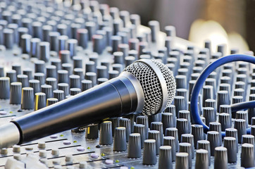Microphone on the sound mixer