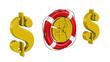 Постер, плакат: Сигнал SOS Монета с символом российского рубля
