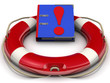 Папка с ответами в спасательном кругу