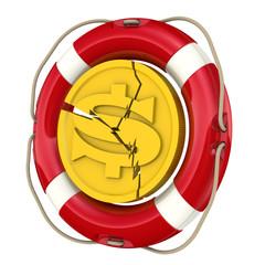 Монета доллара с трещинами в спасательном кругу