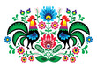 Polish floral embroidery with cocks - traditional folk pattern - 50865208