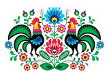 Fototapety Polish floral embroidery with cocks - traditional folk pattern
