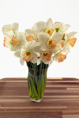 Daffodils in a glass vase.