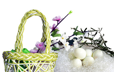 Easter: Hanbag bird and flowers, boiled eggs in a nest