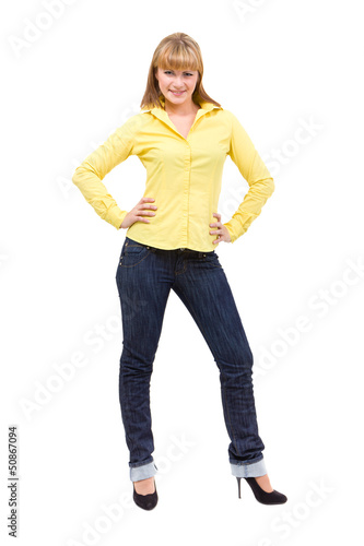 Happy young woman standing full length