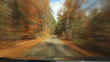 Driving down fall road. Timelapse.